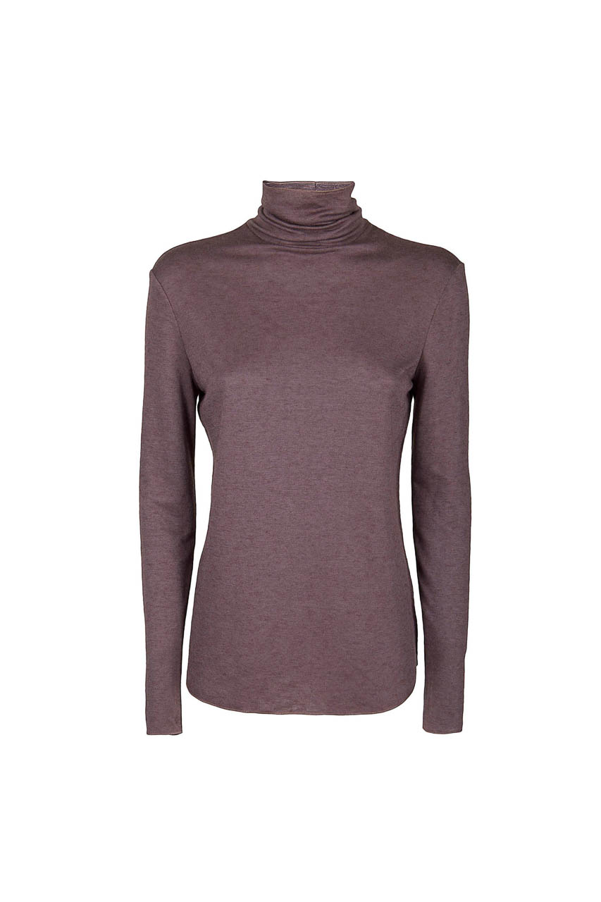 PUROTATTO - 1401 - Turtle neck long-sleeved t-shirt in double jersey - 002