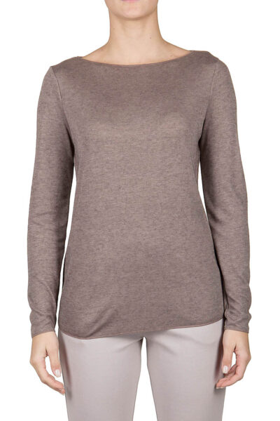 PUROTATTO - 1402 - Boat neck long-sleeved t-shirt in double jersey - 001