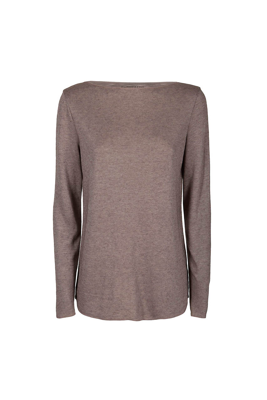 PUROTATTO - 1402 - Boat neck long-sleeved t-shirt in double jersey - 002