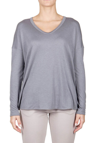 PUROTATTO - 1403 - V-neck long-sleeved t-shirt in double jersey