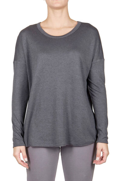 PUROTATTO - 1404 - Round neck long-sleeved t-shirt in double jersey