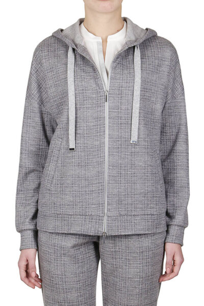PUROTATTO - 1720 - Hooded jacquard sweater with cashmere drawstring - 001