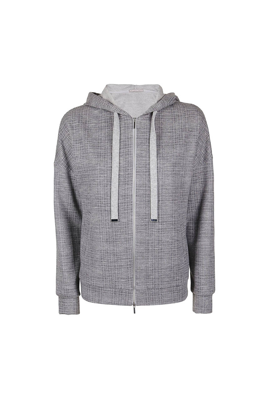 PUROTATTO - 1720 - Hooded jacquard sweater with cashmere drawstring - 002
