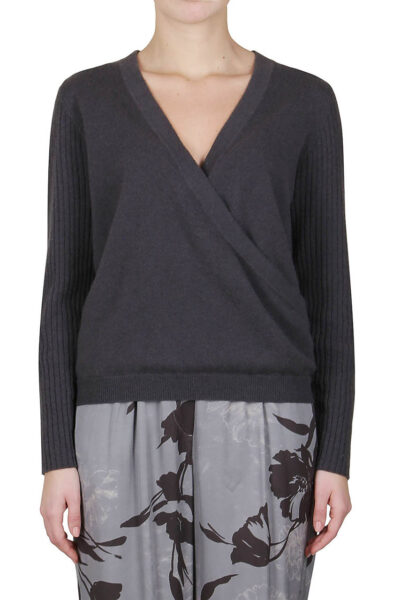 PUROTATTO - 2108 - Surplice V-neck sweater with long sleeves - 001