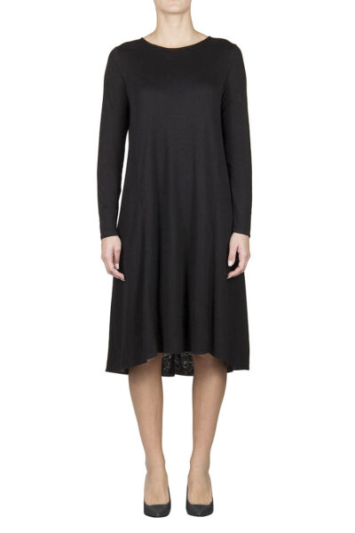 PUROTATTO - 4001 - Boat neck long-sleeved dress in double jersey - 001