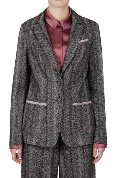 PUROTATTO - 8003 - Jacquard jacket with silk details - 001