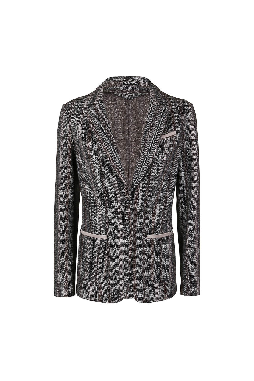PUROTATTO - 8003 - Jacquard jacket with silk details - 002