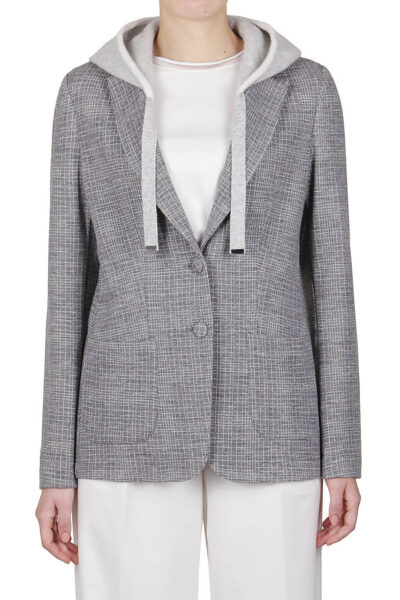 PUROTATTO - 8004 - Jacquard jacket with removable hood in cashmere - 001