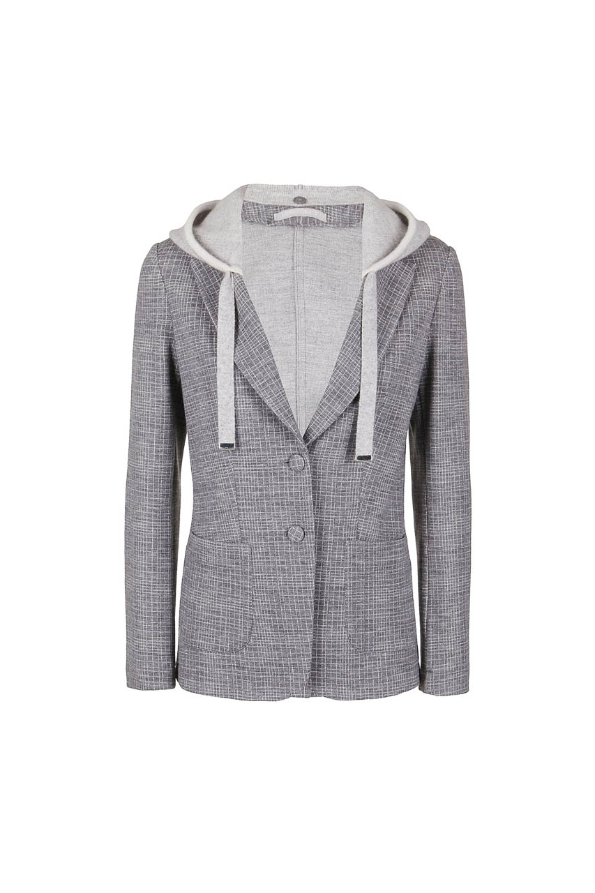 PUROTATTO - 8004 - Jacquard jacket with removable hood in cashmere - 002