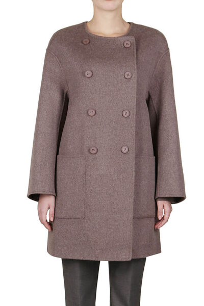 PUROTATTO - 8012 - Double-breasted coat in double wool and cashmere with round neckline - 001