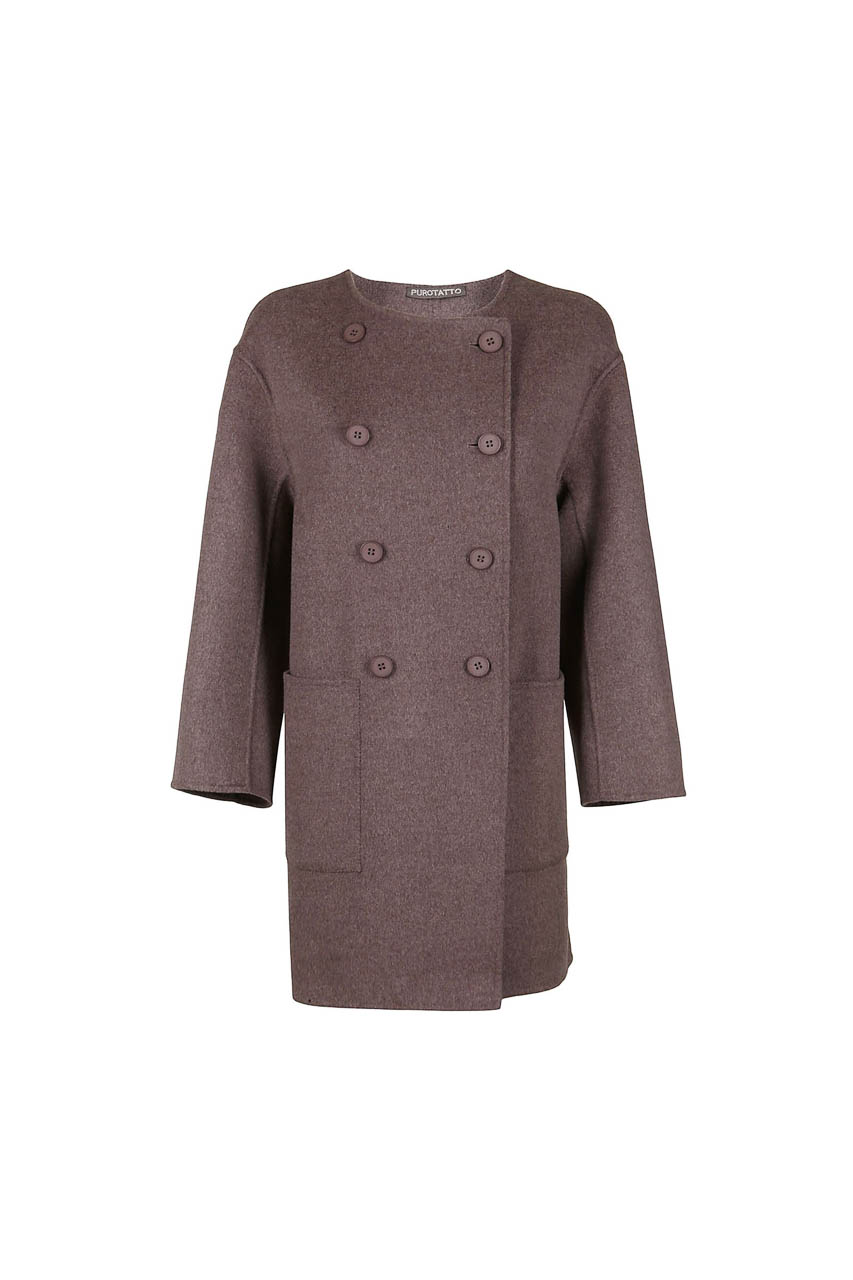 PUROTATTO - 8012 - Double-breasted coat in double wool and cashmere with round neckline - 002
