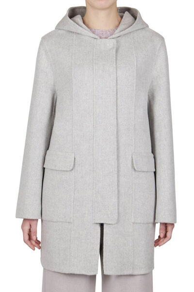PUROTATTO - 8013 - Hooded coat in double wool and cashmere with covered front placket - 001
