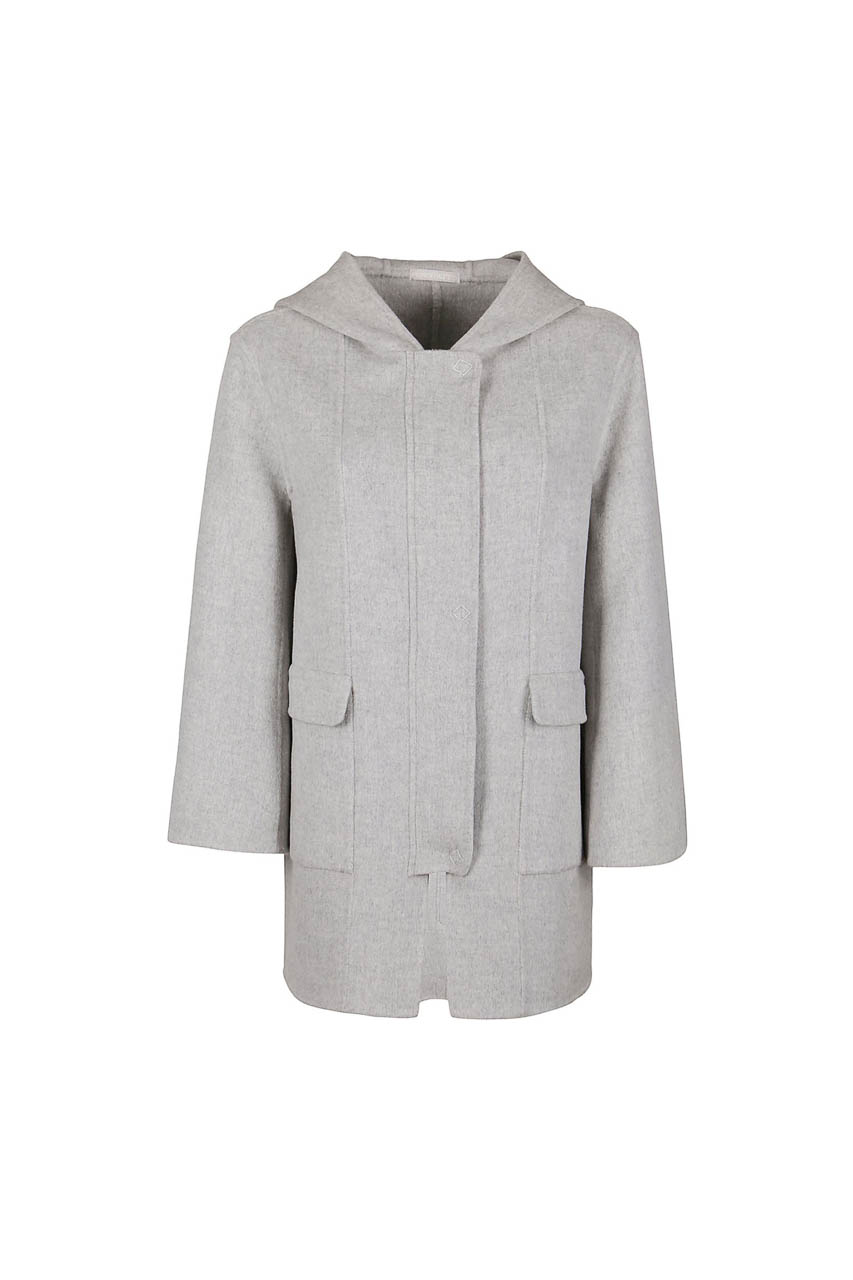 PUROTATTO - 8013 - Hooded coat in double wool and cashmere with covered front placket - 002