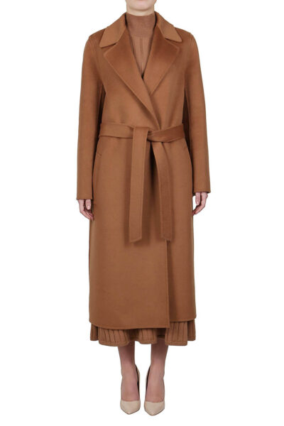 PUROTATTO - 8014 - Long wrap coat in double wool and cashmere with matching belt - 001