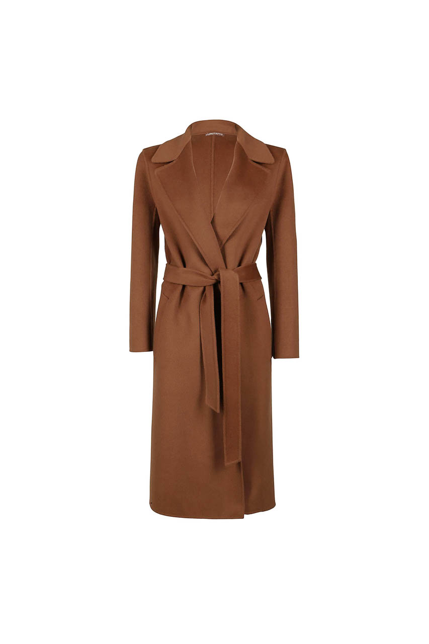 PUROTATTO - 8014 - Long wrap coat in double wool and cashmere with matching belt - 002