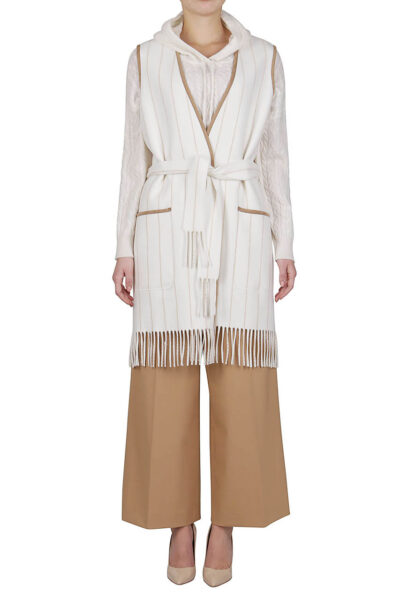 PUROTATTO - 8042 - Pinstripe gilet with fringe trim and matching belt - 001