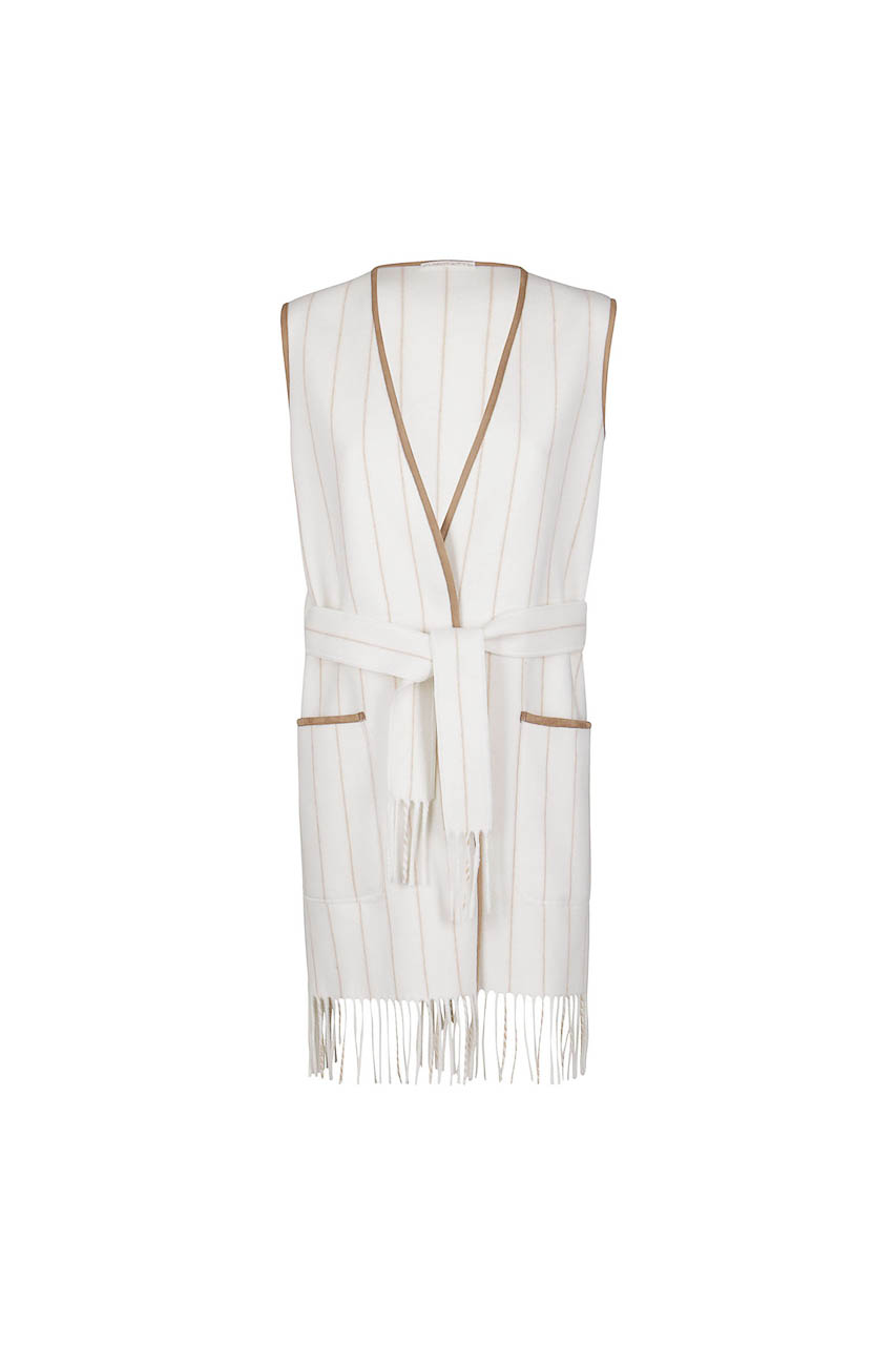 PUROTATTO - 8042 - Pinstripe gilet with fringe trim and matching belt - 002